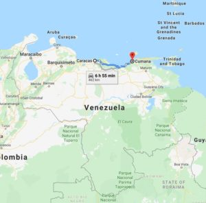 Map of Venezuela with Caracas and Cumanà marked